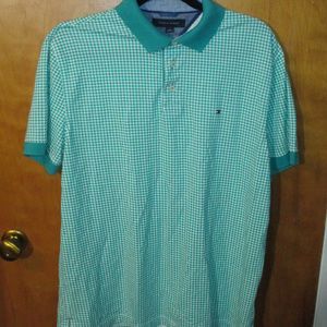 Tommy Hilfiger Green & White Checkered Polo Shirt